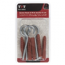TPT HA-5002 Screw Hook And Rawlplug Pack Of 5 PCS